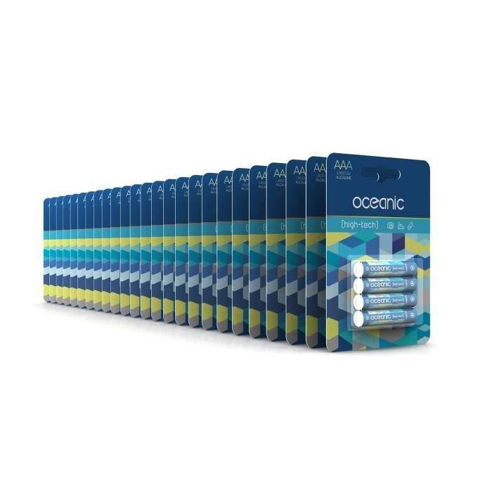 100 Piles Oceanic 25 packs de 4 piles Alcalines LR03/AA 1.5V High-Tech