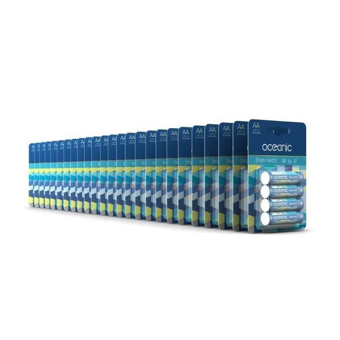 100 Piles Oceanic 25 packs de 4 piles Alcalines LR06/AA 1.5V High-Tech