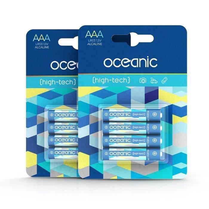 8 Piles Oceanic 2 packs de 4 piles Alcalines LR03/AA 1.5V High-Tech