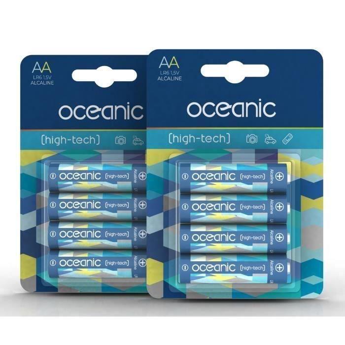 8 Piles Oceanic 2 packs de 4 piles Alcalines LR06/AA 1.5V High-Tech