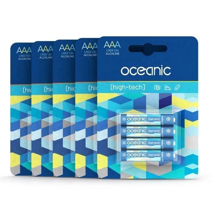 20 Piles Oceanic 5 packs de 4 piles Alcalines LR03/AA 1.5V High-Tech