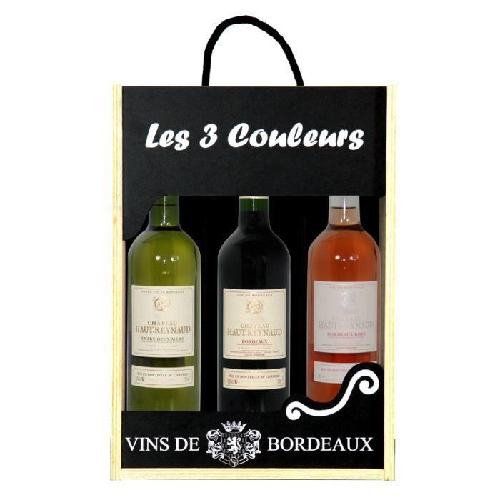 Coffret les 3 Couleurs - Chateau Haut Reynaud Bordeaux Rouge - Bordeaux rosé - Entre Deux Mers - 3x75 cl