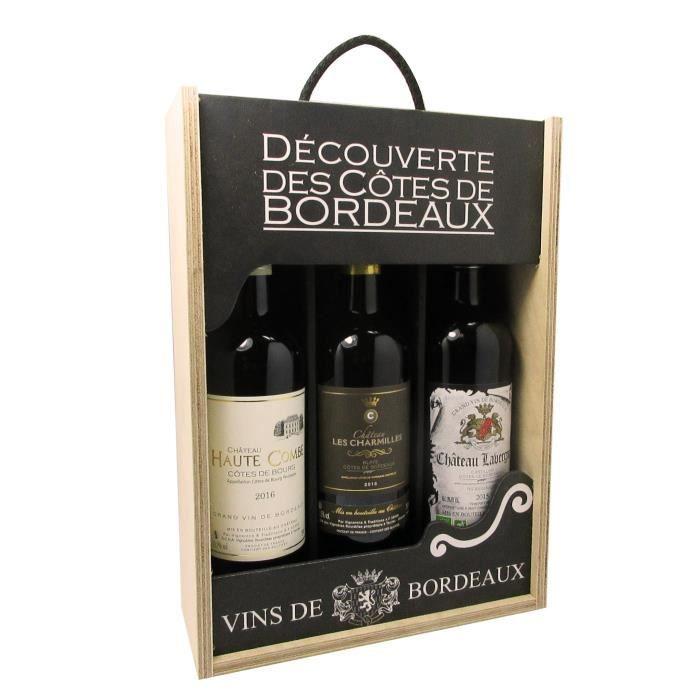 Coffret vin rouge de Bordeaux - Château Haute Combe / Château Les Charmilles / Château Lavergne - 3x75cl
