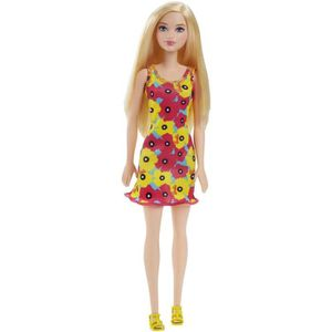 Barbie Chic Blonde Robe Fleurie Rose Et Jaune