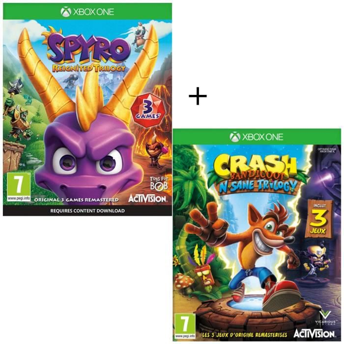 Pack 2 jeux Xbox One : Spyro Reignited Trilogy + Crash Bandicoot N-SANE Trilogy