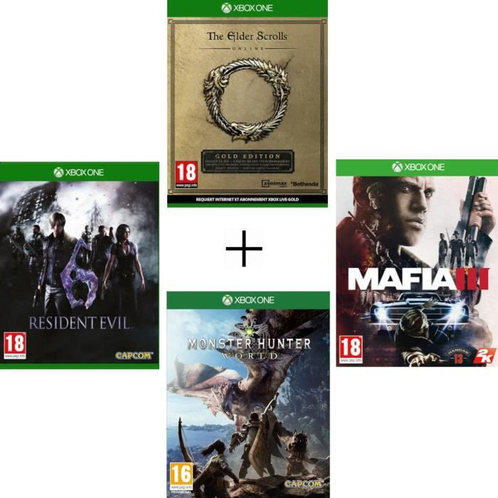 Pack 4 jeux: Elder Scrolls Online Mafia 3 Resident Evil 6 Monster Hunter World - Jeux Xbox One
