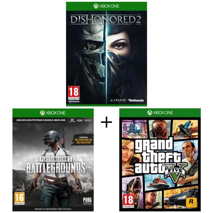 Pack 3 jeux Xbox One : Dishonored 2 + Playerunknown's Battlegrounds 1.0 + GTA V