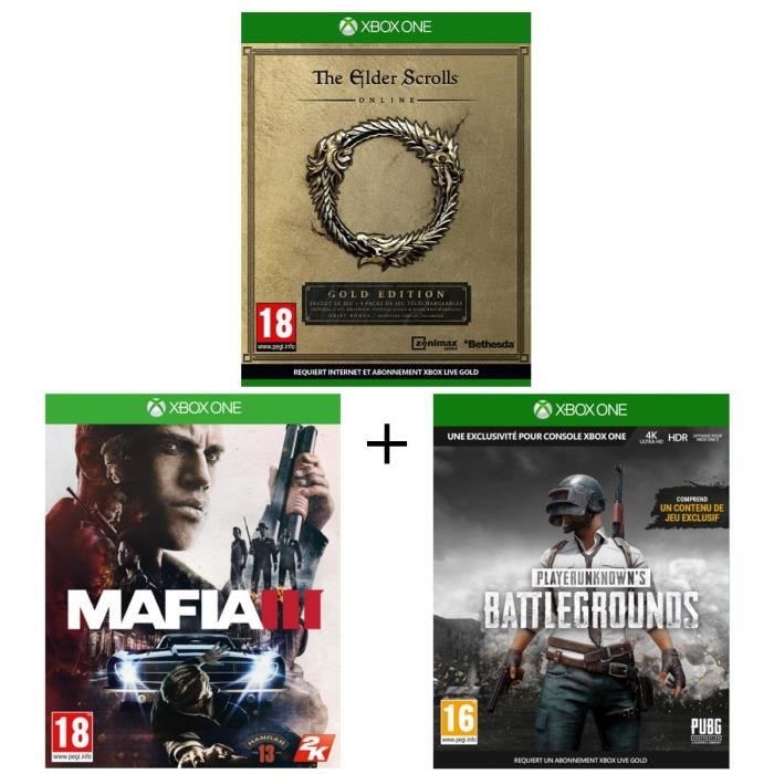 Pack 3 jeux Xbox One : The Elder Scrolls Online + Mafia III + Playerunknown's Battlegrounds 1.0