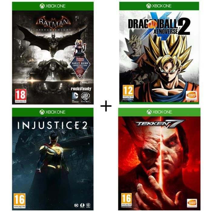 Pack 4 jeux Xbox One : Batman Arkham Knight + Dragon Ball: Xenoverse 2 + Injustice 2 + Tekken 7