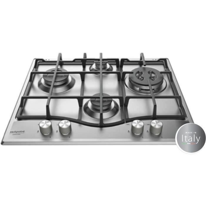HOTPOINT PNN 641 IX Plaque de cuisson Gaz - 4 foyers - 8850 W - L 60 x P51 cm - Revêtement Inox