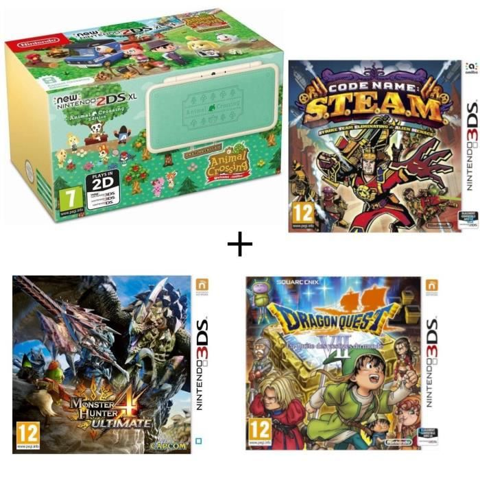 New 2DS XL Animal Crossing + Monster Hunter 4 Ultimate + Dragon Quest VII + Code Name : STEAM