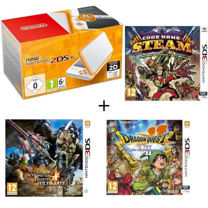 New 2DS XL Blanche et Orange + Monster Hunter 4 Ultimate + Dragon Quest VII + Code Name : STEAM