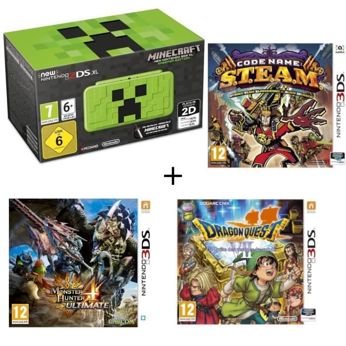 New 2DS XL Minecraft Creeper Edition + Monster Hunter 4 Ultimate + Dragon Quest VII + Code Name : STEAM