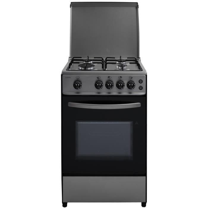 OCEANIC - 105IXV2- Cuisinière gaz - Inox - 50x50 - Eclairage - Grill électrique