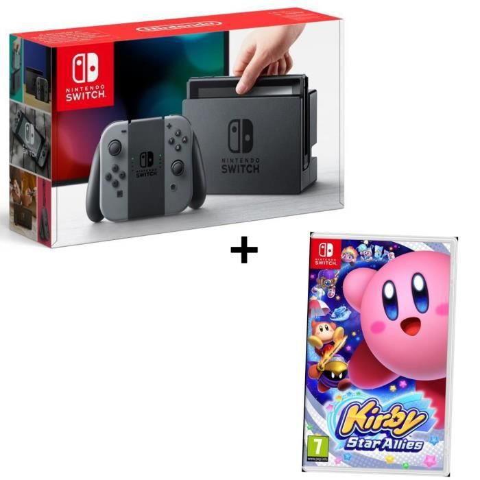 Pack NINTENDO Console Switch Joy-Cons gris + Jeu Kirby Star Allies