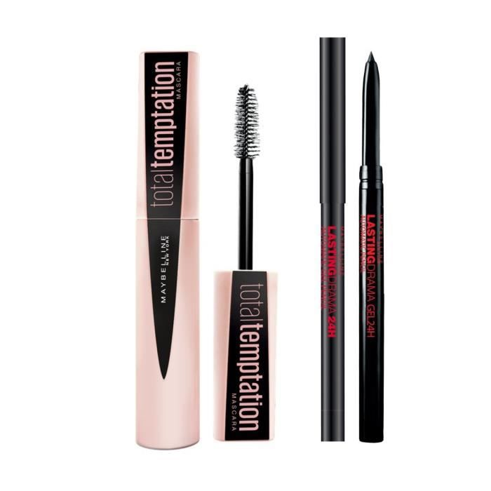Maybelline New York Lot Yeux Mascara Temptation Et Liner Gel