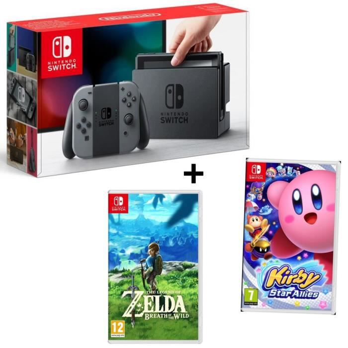 Pack nintendo console switch joy cons gris jeu kirby star allies jeu the legend of zelda breath of the wild