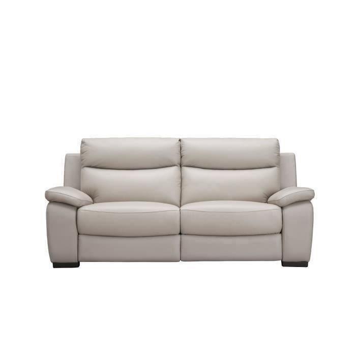 Canapé 2 places relax électrique avec port USB - Gris clair - Cuir de vachette - L 175 x P 97 x H 101 cm - PHIL