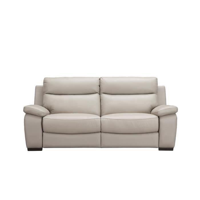 Canapé relax électrique 3 places - Cuir de vachette - Gris clair - L 211 x P 97 x H 101 cm - PHIL