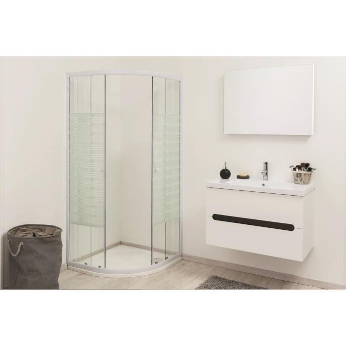 RUSTY Ensemble meuble de salle de bain 60cm avec miroir - Wengé et blanc