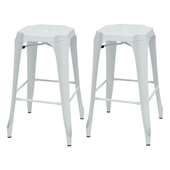 KRAFT Mary Lot de 2 tabourets de bar en métal blanc mat - Industriel - L 47 x P 47 cm - Assise H 75.