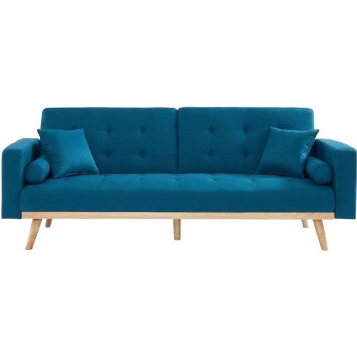 KELLY Canapé droit convertible 3 places - Tissu bleu - L 216 x P 78 x H 85 cm