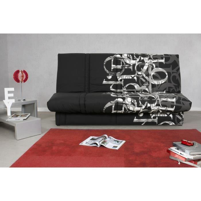 Banquette clic clac 120 x 190 cm - Tissu noir et blanc - L 195 x P 90 x H 84 cm - RANDY - Made in France