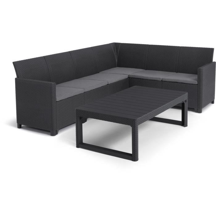 ALLIBERT by KETER - Salon de jardin SanRemo Lyon 6 places - table basse 2 positions - imitation rotin tressé - gris graphite