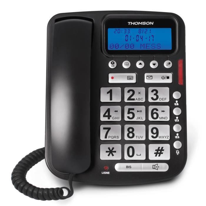 Thomson Reply Téléphone Filaire avec Répondeur Noir Senior