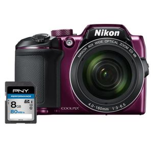 NIKON COOLPIX B500 - Appareil photo numérique Bridge - Bluetooth - Violet + Carte 8Go