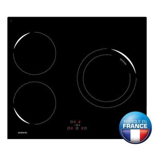 OCEANIC OCEATI3Z1B Table de cuisson ? induction-3 zones-4900W-L59xP52cm-Rev?tement verre-Noir