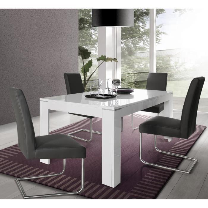 SLATE Table à manger extensible - 6-8 personnes - Style contemporain - Blanc brillant - L 160-206 x l 90 cm
