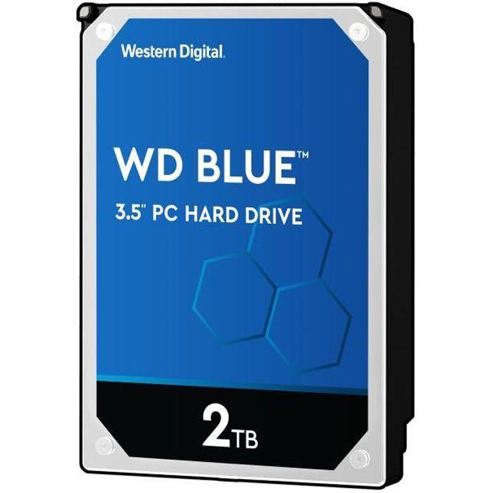 WD Blue™ - Disque dur Interne - 2To - 5 400 tr/min - 3.5- (WD20EZRZ)