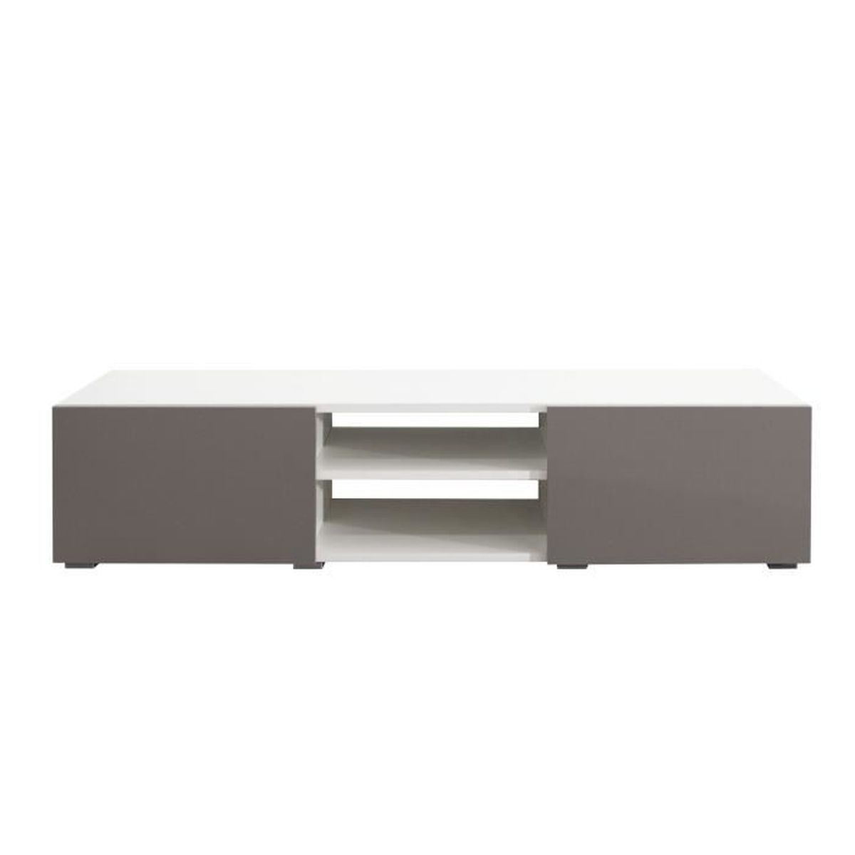 Lime meuble tv contemporain blanc et taupe l 140 cm for Meuble tv blanc 90 cm