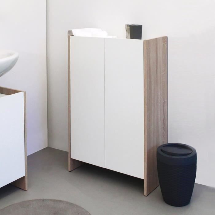 pure meuble bas de salle de bain 60cm d cor b ton et blanc achat vente meuble bas commode. Black Bedroom Furniture Sets. Home Design Ideas
