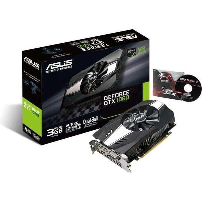 Asus Carte Graphique Nvidia Geforce Gtx 1060 Ph Gtx1060 3g