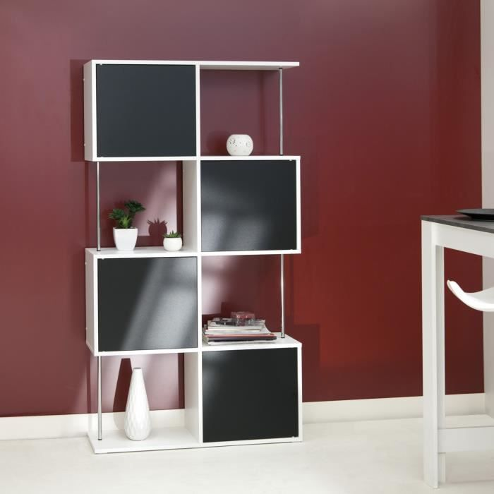 cherry etag re biblioth que noir blanc achat vente biblioth que cherry etag res semi. Black Bedroom Furniture Sets. Home Design Ideas