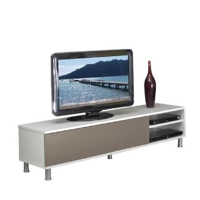 cherry banc tv 165 cm avec abattant blanc et taupe achat vente meuble tv cherry banc tv. Black Bedroom Furniture Sets. Home Design Ideas