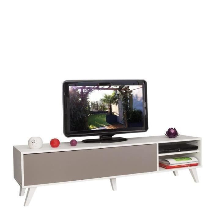 Oslo meuble tv 165cm coloris taupe et blanc achat for Meuble tv oslo but