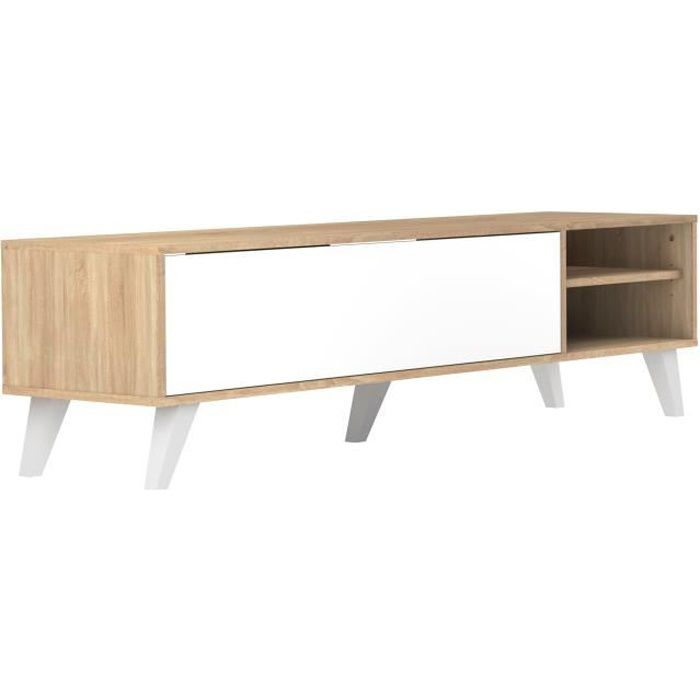 prism meuble tv scandinave m lamin d cor ch ne et blanc. Black Bedroom Furniture Sets. Home Design Ideas