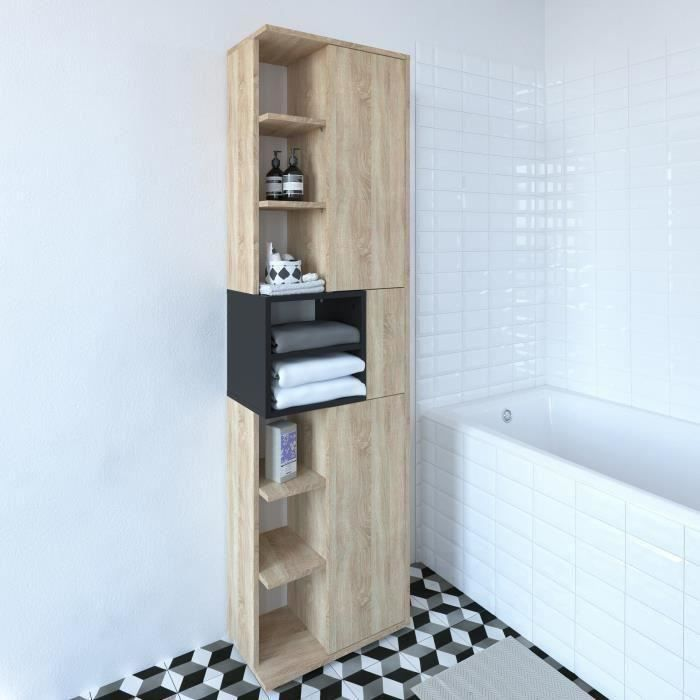 KUBE modula Colonne de salle bain L 50 x P 28 x H 182 cm - Décor chêne  naturel et noir mat melamine niches de rangement