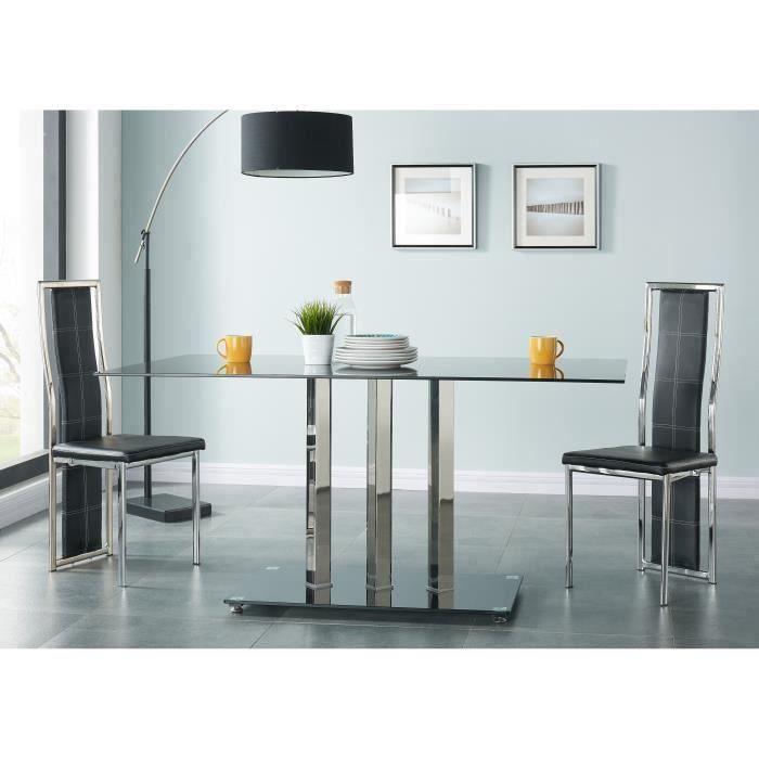 Table a manger verre et metal noir