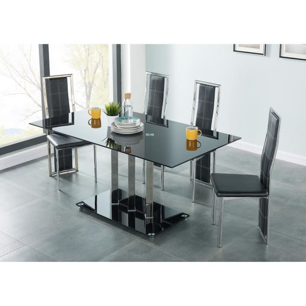 Tribeca table manger 160x90 cm 4 chaises noir et for Ensemble table et chaise noir