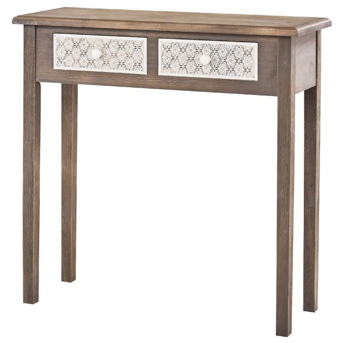 virginia console romantique gris et blanc plateau placage bois paulownia verni l 80 cm. Black Bedroom Furniture Sets. Home Design Ideas