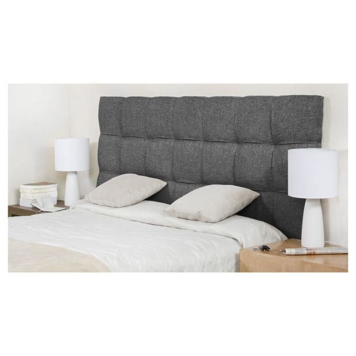 finlandek t te de lit kyn contemporain en bois massif rev tement tissu gris fonc l 174 cm. Black Bedroom Furniture Sets. Home Design Ideas