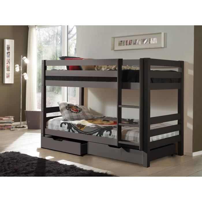 pino lit enfant superpos 2 tirrois gris achat vente lits superposes pino lit superpos. Black Bedroom Furniture Sets. Home Design Ideas