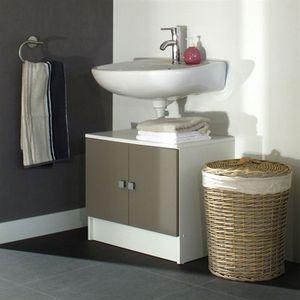 MEUBLE VASQUE - PLAN GALET Meuble sous lavabo L 60 cm - Blanc et taupe