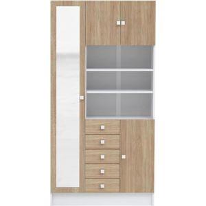 ARMOIRE DE TOILETTE Armoire à salle de bain H 182 cm - 4 portes blanc