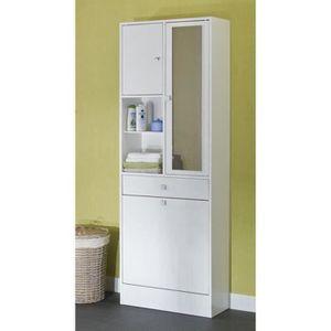 COLONNE - ARMOIRE SDB GALET Armoire de toilette L 60 cm - Blanc mat