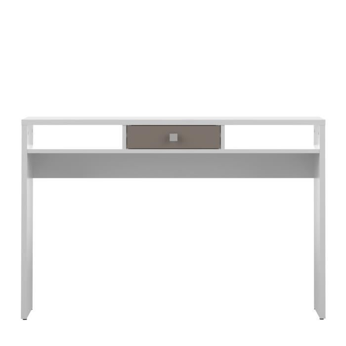 line console style contemporain m lamin e blanc et taupe. Black Bedroom Furniture Sets. Home Design Ideas